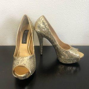 Funtasma Metallic Gold Sequins High Heel Shoes